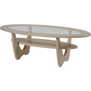Стол журнальный Калифорния мебель Юпитер со стеклом беленый дуб