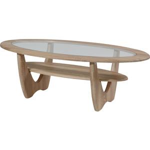 Стол журнальный Калифорния мебель Юпитер со стеклом дуб сонома