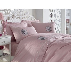 цена на Комплект постельного белья Dantela Vita евро + 4 наволочки 50x70 сатин (10063 пудра)