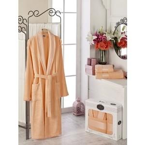 Набор из халата и 2 полотенец Do and Co Gold (10484 оранжевый) цена и фото