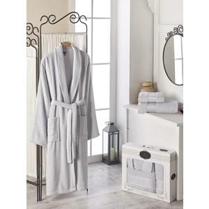 Набор из халата и 2 полотенец Do and Co Gold (10484 серый) цена и фото