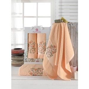 Набор из 2 полотенец Merzuka Floral махровое 50x80/70x130 (9522 оранжевый)