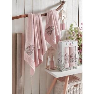 Набор из 2 полотенец Merzuka Floral махровое 50x80/70x130 (9522 розовый)