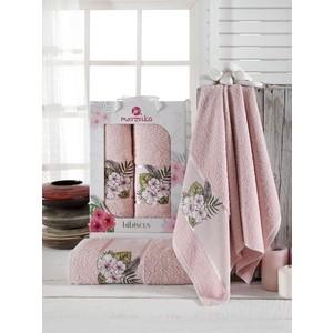 Набор из 2 полотенец Merzuka Hibiscus махровое 50x80/70x130 (9724 розовый)