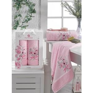Набор из 2 полотенец Merzuka Bella махровое 50x80/70x130 (9806 светло- розовый)