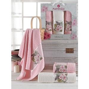 Набор из 3 полотенец Merzuka Hibiscus махровое 50x80/70x130 (9725 светло- розовый)