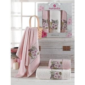 Набор из 3 полотенец Merzuka Hibiscus махровое 50x80/70x130 (9725 розовый)