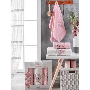 Набор из 3 полотенец Merzuka Bella махровое 50x80/70x130 (9933 светло- розовый)