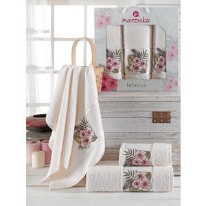 Набор из 3 полотенец Merzuka Hibiscus (9725 кремовый) косметичка hibiscus love