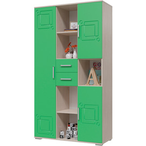 Шкаф комбинированный с ящиками Мэри Индиго И-12 дуб выбеленный/салатовый