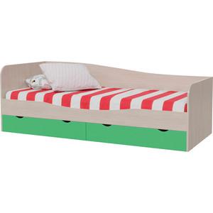 Кровать с ящиками Мэри Индиго И-16 дуб выбеленный/салатовый