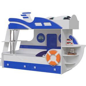 Кровать двухъярусная Мэри Парус яхта-2 белый/синий