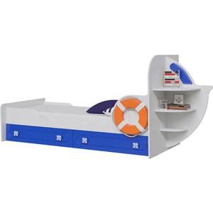 Кровать одноярусная Мэри Парус яхта-1 белый/синий цена