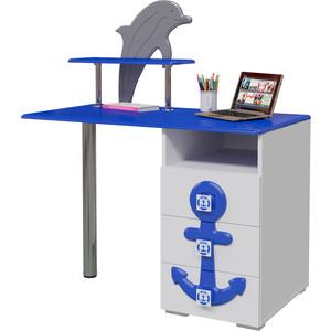 Стол письменный Мэри Парус П-2 белый/синий