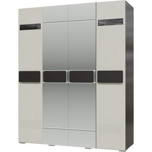 Шкаф 4-х дверный с зеркалами Мэри Престиж СП-04 венге цаво/жемчужный лён корпус тумбы с вешалкой шейла стл 400м венге цаво