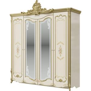 Шкаф 4-х дверный Мэри Шейх СШ-01 слоновая кость/золото