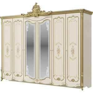 Шкаф 6-ти дверный Мэри Шейх СШ-02 слоновая кость/золото