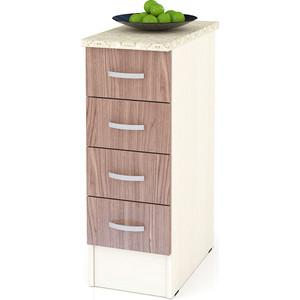 Стол с 4-мя ящиками Мебельный двор Мери ШН4Я300 дуб/ясень шимо темный цена