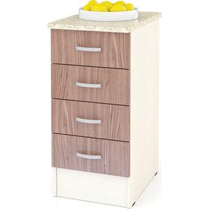 Стол с 4-мя ящиками Мебельный двор Мери ШН4Я400 дуб/ясень шимо темный цена