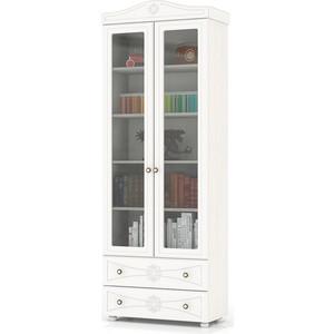 Шкаф книжный со стеклянными фасадами и двумя ящиками Мебельный двор Онега белая ШК-37 белый шкаф книжный мебель смоленск шк 04