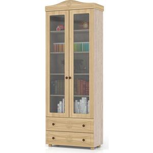 Шкаф книжный со стеклянными фасадами и двумя ящиками Мебельный двор Онега лён ШК-37 лён/ясень шимо светлый