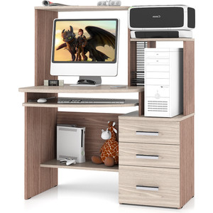 Стол компьютерный Мебельный двор С-МД-СК3 ясень шимо светлый/ясень шимо темный комод мебельный двор с мд к8 ясень шимо темный ясень шимо светлый