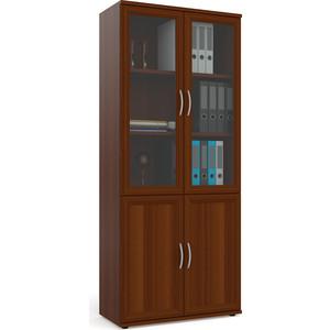 Фасады для шкафа Мебельный двор С-МД-2-03 шкаф книг со стеклом, цвет орех