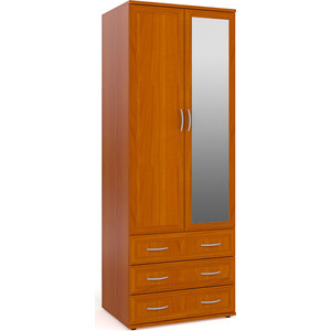 цена на Шкаф для одежды с 3-мя ящиками с зеркалом Мебельный двор ШК-3-Зерк вишня