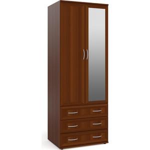 цена на Шкаф для одежды с 3-мя ящиками с зеркалом Мебельный двор ШК-3-Зерк орех