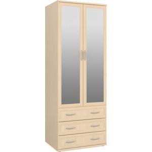 Шкаф для одежды с 3-мя ящиками два зеркала Мебельный двор ШК-3-Зерк-2 дуб цена