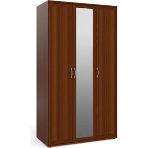 Шкаф для одежды и белья 3-х дверный с зеркалом Мебельный двор ШК-4-Зерк орех