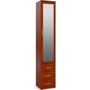 Шкаф-пенал для белья с 3-мя ящиками с зеркалом Мебельный двор ШК-6А-Зерк яблоня