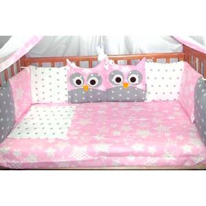 цена Комплект в кроватку Incanto 10 предметов Совята розовый 38535 онлайн в 2017 году