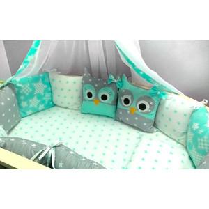 цена Комплект в кроватку Incanto 10 предметов Совята зеленый 38534 онлайн в 2017 году