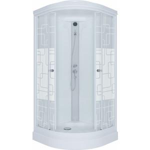 Душевая кабина Triton Стандарт А ДН3 100х100 задние стенки белые, стекла Аква квадраты (Щ0000025943)