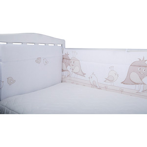 Бортик в кроватку BamBola Птички бязь бежевый 152