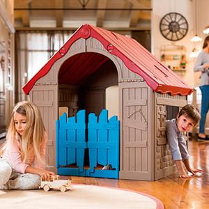 Игровой дом Keter Foldable Playhouse складной бежевый/красный 17202656585 цена