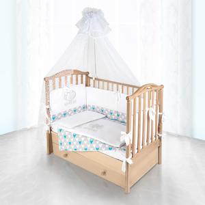 Комплект в кроватку Pituso Сердечко цветочках 6пр серый 120x60 p04g1