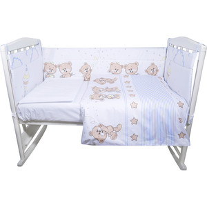 Комплект в кроватку BamBola 4пр Прогулка сатин поплин голубой 412