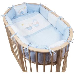 Комплект для овальной кроватки Pituso (борт-подушки) на Лужайке 6пр голубой лг-п (611)