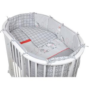 Комплект для овальной кроватки Pituso Зебра 6 пр серый (зс 606)