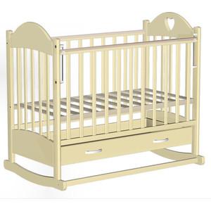 Кроватка Ведрусс Таисия 2 (ящик колесо/качалка накладка сердечко) слоновая кость vd2271222 стоимость