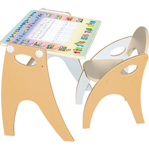Набор мебели Интехпроект Буквы Цифры парта-мольберт стульчик жемчужный персик 14-434