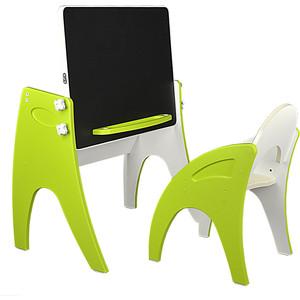 Набор мебели Интехпроект Буквы Цифры парта-мольберт стульчик лайм 14-446