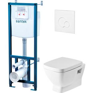 Комплект Santek Нео унитаз подвесной с микролифтом Clip Up + инсталляция, кнопка белая (1WH302463)