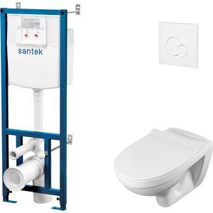 Комплект Santek Бореаль унитаз подвесной с микролифтом Clip Up + инсталляция, кнопка белая (1WH302464)
