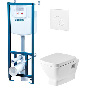 Комплект Santek Нео унитаз подвесной с микролифтом Clip Up + инсталляция, кнопка хром (1WH501543)