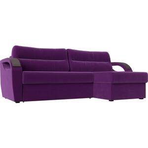 Угловой диван Лига Диванов Форсайт микровельвет фиолетовый правый угол угловой диван лига диванов форсайт микровельвет зеленый правый угол