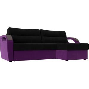 Угловой диван Лига Диванов Форсайт микровельвет черный/фиолетовый правый угол фото