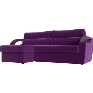 Угловой диван Лига Диванов Форсайт микровельвет фиолетовый левый угол